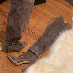 Thigh high faux suede boot